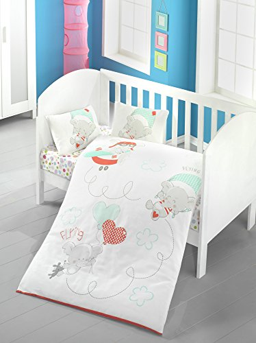 4 Pcs Luxury Soft Colored Bedroom Bedding 100% Cotton Ranforce Baby Quilt Duvet Cover Set / Elephant Miniature Flying Plane Heart Happy Flower Blue Red / Baby Bed Size with Flat Sheet Baby Sky White G from LaModaHome