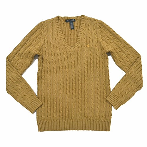 (Lauren Ralph Lauren Womens Cable Knit V Neck Sweater (S, Indo Khaki))
