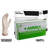AMMEX Ivory Hand Specific Latex Exam Powder Free Disposable Gloves (Case of 1000)