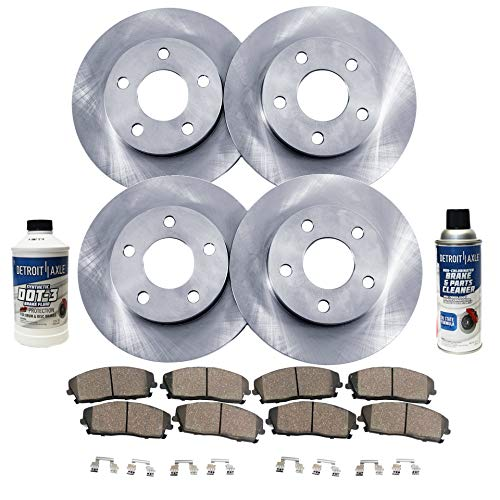 Detroit Axle - All (4) Front and Rear Disc Brake Rotors w/Ceramic Pads w/Hardware & Brake Cleaner & Fluid for 2011 2012 Honda Accord Coupe LX-S 4 Cyl./ Sedan LX LX-P SE