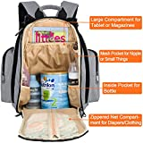 Mancro Diaper Bag Backpack, Organizer Back Pack for Mom / Dad with Baby Stroller Straps, Changing Pad & Insulated Pockets, Water Resistant Anti-theft Travel Bags for Boys / Girls Care in Grey