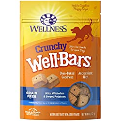 Wellness Crunchy Wellbars Natural Grain Free Dog Treats, Whitefish & Sweet Potato, 8-Ounce Bag
