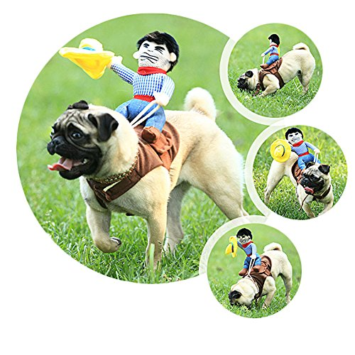 BlueSpace Pet Costume Cowboy Rider Clothes Dog Cat Pets Suit Halloween Costumes Pets Clothing for Small Dogs and Cats Perfect for Halloween Christmas and Theme Party