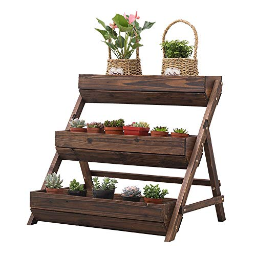 - Amgker Step-Wise Farmhouse Style 3 Layers Wooden Flower Stand Solid Wood Ladder Multi-Layer Balcony Carbonization Antiseptic Wooden Flower Shelf Potted Plant