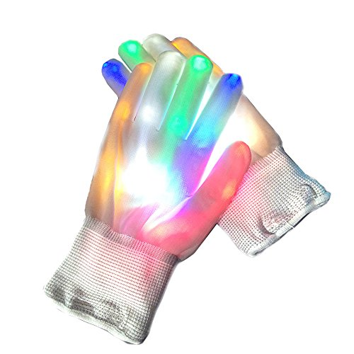 Led Gloves Flashing Finger Glow Lighting Gloves with 6 Light Mode for Party Halloween Bar Club Gifts Light up Hand Glove Dancing Perfomance Tool