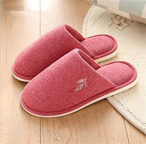 1 JaHGDU Ms Home Slippers Indoor Thermal Non-Slip Cotton Slippers Large Size Leaves Printed Pattern Solid color Comfortbale Slippers