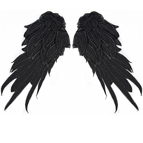 Misaya 1 Pair Angel Wing Neckline Lace Trim Applique for Clothing Designing and Sewing DIY, Black