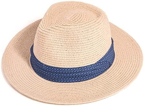 Fenside Country Clothing Mens Straw Fedora Panama Sun Hat with Pattern Band
