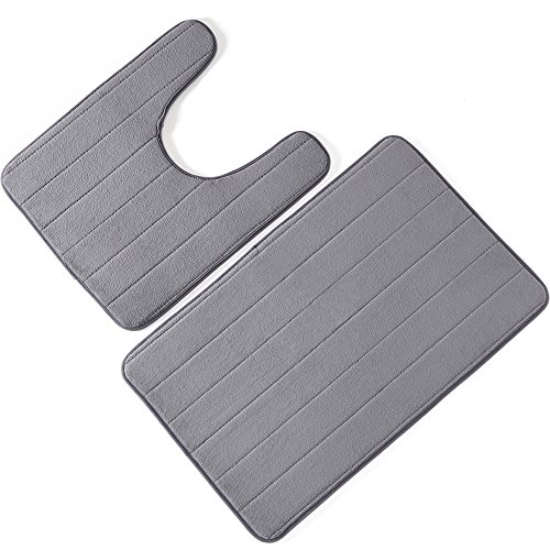 Bathroom Rugs, Bath Mat, Set of 2 Memory Foam Bath Mat and U-shape Toilet Floor Rug (Gray) by Anickal