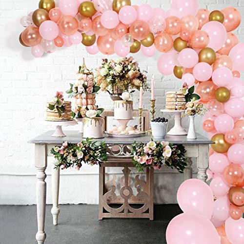 DIY Balloon Garland Kit & Balloon Arch, Party Supplies Decorations, 140Pcs Pink, Rose Gold & Confetti Balloons, Golden Ballons for Birthday, Wedding, Graduation, Baby Shower, Anniversary Organic Party -