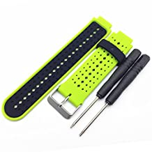 Xberstar Replacement Silicone Watch Band Strap for Garmin Forerunner 235 630 230 GPS Watch (Lime green+Black)