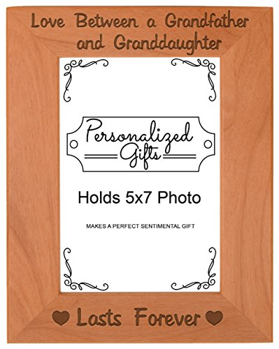 First Time Grandpa Gifts Love Between a Grandfather and Granddaughter Lasts Forever Birthday Gifts Grandpa Natural Wood Engraved 5x7 Portrait Picture Frame Wood