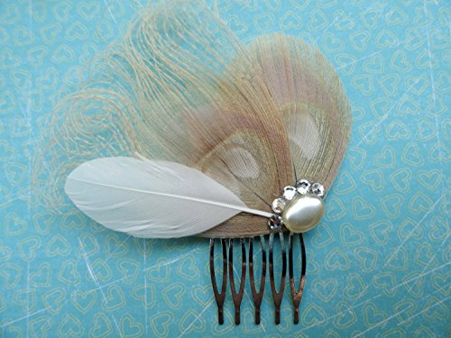Oh Lucy Handmade LISETTE II Ivory Peacock and Pearl with Crystal Hair Comb Lisette Crystal