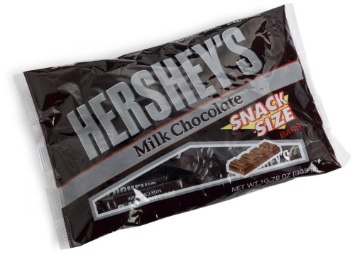 Hershey's Snack Size Bars, Milk Chocolate, 10.78 Ounce Bags (Pack of 6)