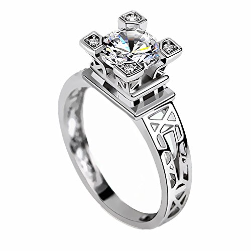 KOREA-JIAEN Eiffel Tower Ring S925 Sterling Silver Plated 8mm 5A Level Cubic Zirconia Diamonds Ring (Size:8) (Tower Ring Eiffel)