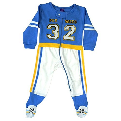 Sozo Baby Boys Footie Romper, Infant Football Jock Costume, Blue/White/Yellow, 6-9 Months]()