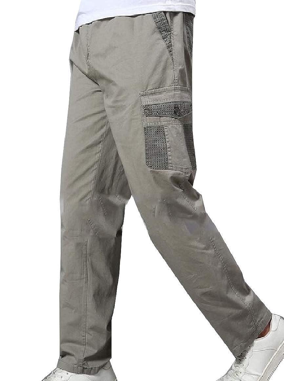 xiaohuoban Men Plus Size Cotton Loose Fit Straight Leg Expandable Waist Pant