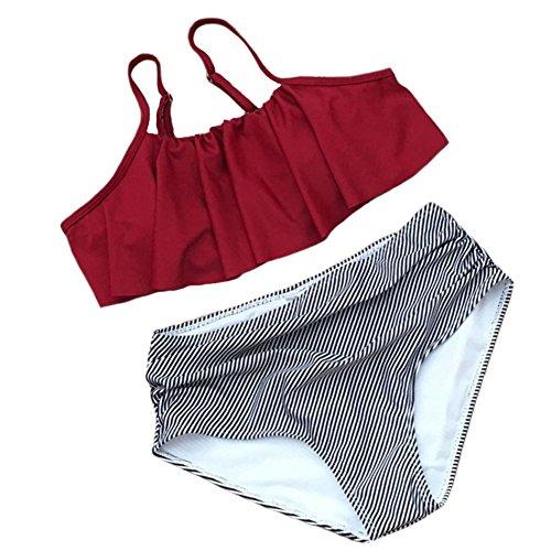 DELEY Damen Frauen Hohe Taille Bikini Set Niedliche Rüschen Zwei Stück  Bademode Vintage Beachwear Gepolsterter