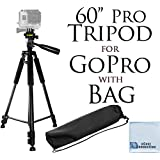 "60"" Inch Pro Series Professional Camera Tripod for All GoPro HERO1, HERO2, HERO3/3+, HERO4, HERO4 Session, HERO5, HERO 6, Fusion Cameras & eCostConnection Microfiber Cloth"