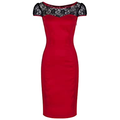 bd5598d95ae1 Pretty Kitty Fashion Red Cotton Lace Wiggle Pencil Dress: Amazon.co ...