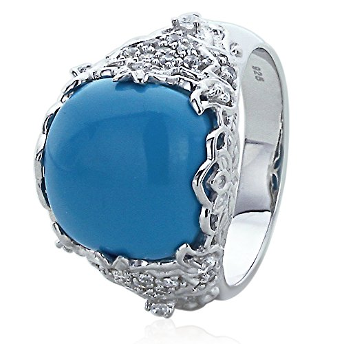 Sterling Silver Simulated Turquoise Subtly Studded with CZ Cocktail Ring (Size 5 to 9), 9