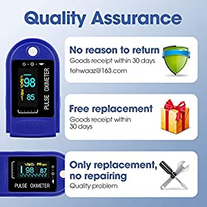 Pulse Oximeter, Oxygen Monitor Finger Heart Rate Monitor Oxygen Saturation Monitor Adult and Child with Omnidirectional OLED Display Includes Lanyard (White Gold)
