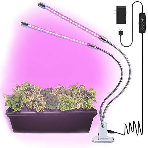 Brite Labs LED Plant Lights for Indoor Plants, 20W Dual Head LED Grow Lights for Seedlings, Adjustable Gooseneck Growing Plant Lamp with Clip On Desk Clamp and Programmable Timer Allows Auto On Off
