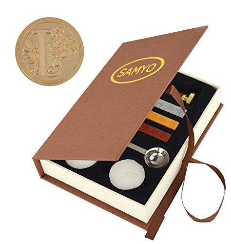 Stamp Seal Sealing Wax Vintage Classic Old-Fashioned Antique Alphabet Initial Letter Set Brass Color Creative Romantic Stamp Maker (J) ()