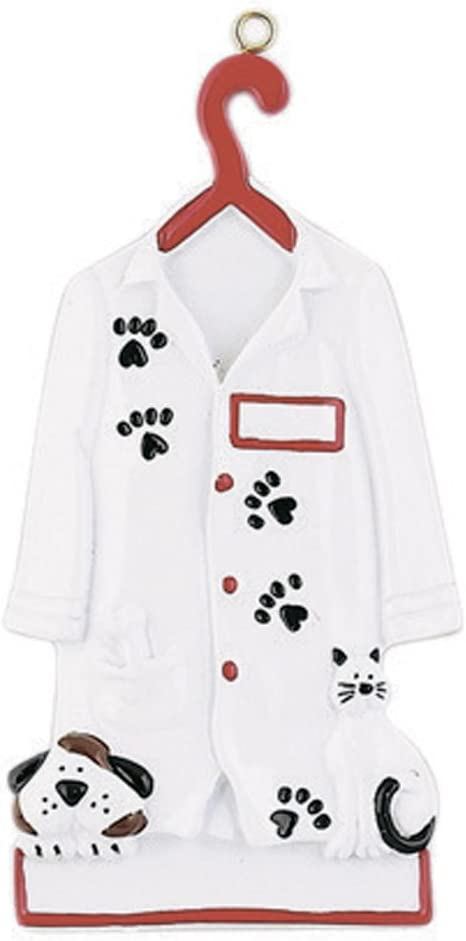 Vet Uniform on Hanger with Paw Prints Dog Cat Medical Health Care Hospital New Job Doctor Profession Animal Pet Clinic Free Customization Personalized Veterinarian Christmas Ornament 2018