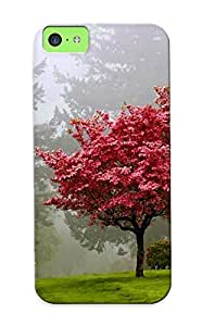 Runandjump Anti-scratch And Shatterproof Red Tree Phone Case For Iphone 5c/ High Quality Tpu Case