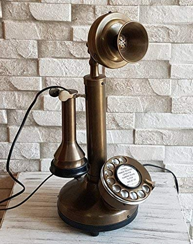 MANZA INTERNATIONAL Vintage Style Rotery Dial Candlestick Functional Decorative Brass Telephone.
