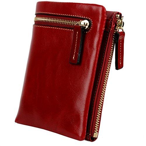 YALUXE Compact Cowhide Leather Bi fold