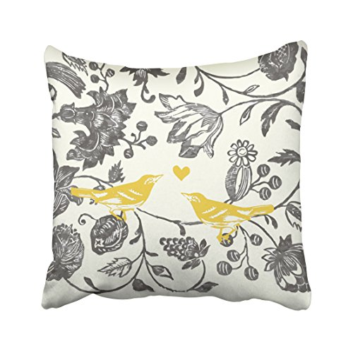 ONELZ Trendy Yellow Gray Vintage Floral Bird Pattern Square Decorative Throw Pillow Case, Fashion Style Zippered Cushion Pillow Cover (16X16 inch)