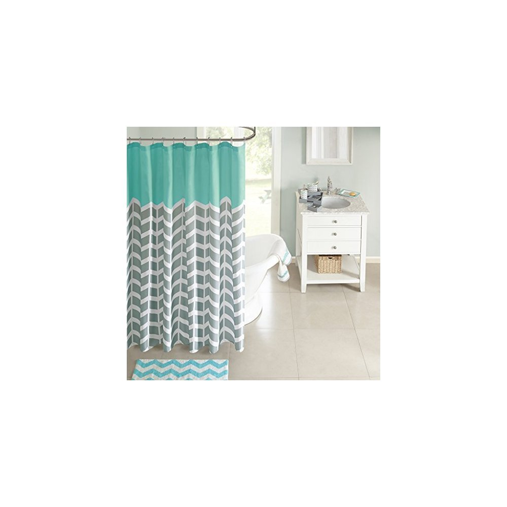 Intelligent Design ID70 365 Nadia Shower Curtain 72x72 Teal Amazonin Home Kitchen