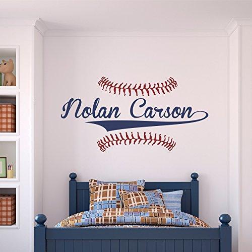 Baseball Decal Vinyl Sticker (Custom Name Baseball Wall Decal - Boys Personalized Name Baseball Wall Sticker - Custom Name Sign - Custom Name Stencil Monogram - Boys Room Wall Decor …)