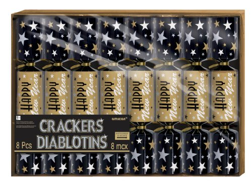 crackers new years printed black/silver/gold (8 Pcs)