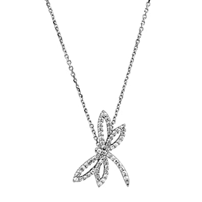 c189c45f7 Image Unavailable. Image not available for. Color: 1/3 cttw Diamond Dragonfly  Necklace in 14k White Gold