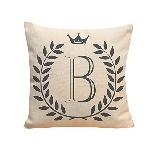 Kimloog 18 x 18 Linen Throw Pillow Case Leaf Letters Pattern Decorative Square Cushion Cover (B)