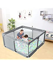 Baby Playpen, Indoor & Outdoor Kids Activity Center with Anti-Slip Base, Sturdy Safety Play Yard with Super Soft Breathable Mesh, Kid's Fence for Infants Toddlers(GREY) (S)