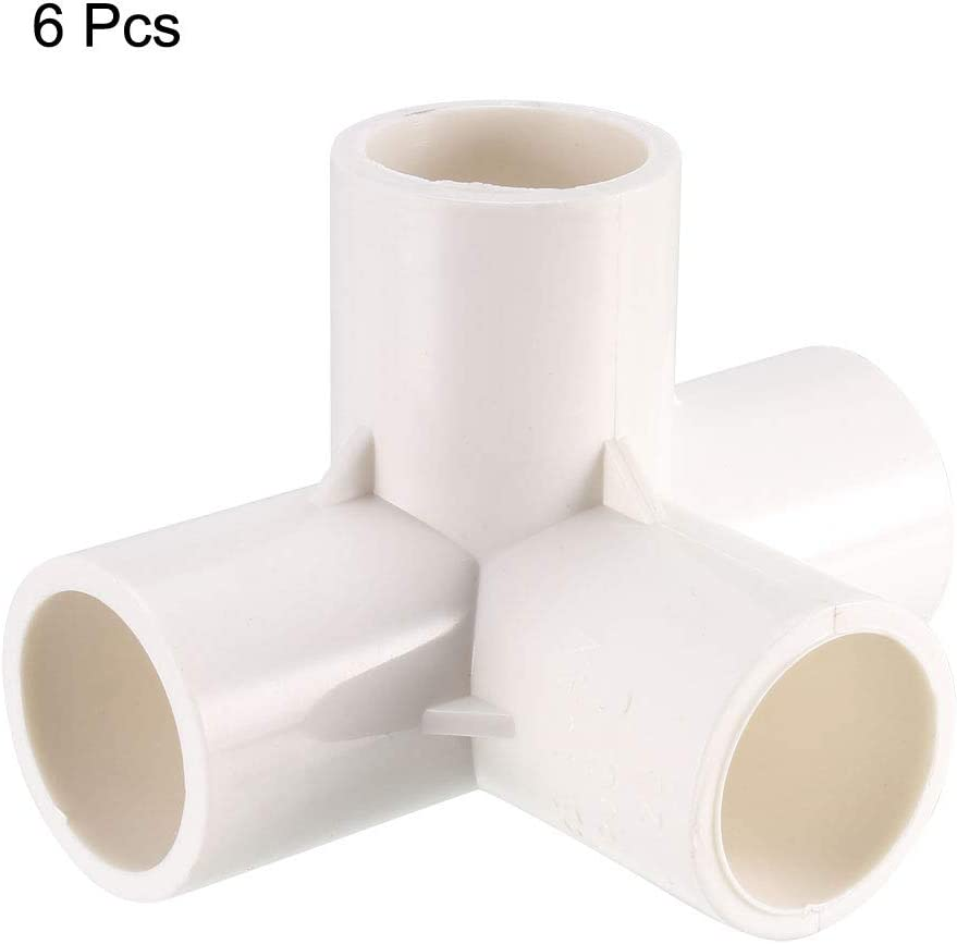 Pvc Raccordi A Gomito Per Irrigazione Spruzzatore Bianco 20mm,6Pcs Mobili Pvc sourcing map A 4 Vie Pvc Raccordo A T A Gomito
