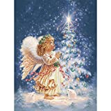 Blxecky 5D DIY Diamond Painting Number Kits Crafts & Sewing Cross Stitch,Wall Stickers Living Room Decoration,Christmas Tree(12X16inch/30X40CM)