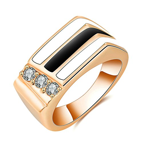 [Daesar Gold Plated Rings Womens Wedding bands Geometry Cubic Zirconia Ring Rose Gold Rings Size:7] (Chinese Vampire Costume)