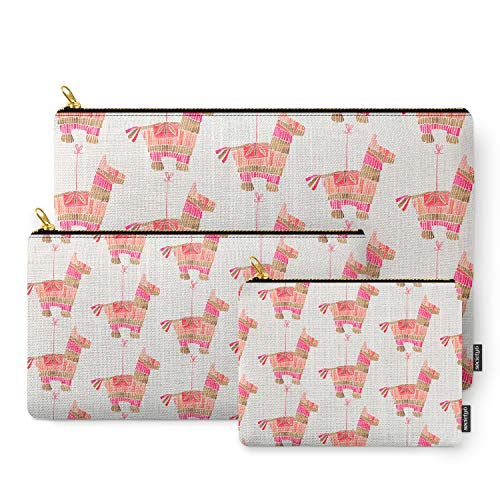 Society6 Pouches, Mexican Donkey Pinata - Pink & Rose Gold Palette by catcoq, set of 3