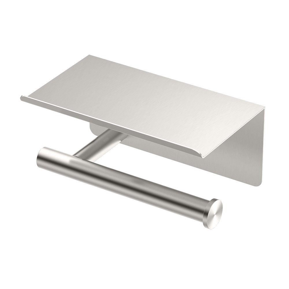 Gatco 1420SN Latitude II Toilet Paper Holder with Mobile Shelf, Satin Nickel