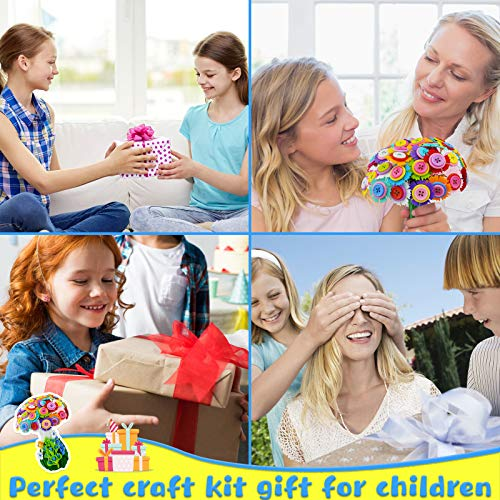 Motiloo Flower Craft Kit for Kids,Make Your Own Flower Bouquet with Buttons and Felt Flowers,Childrens Crafts Fun DIY Kid Craft for Girls and Boys,Mothers Day Crafts Gift (Rainbow vase-A)