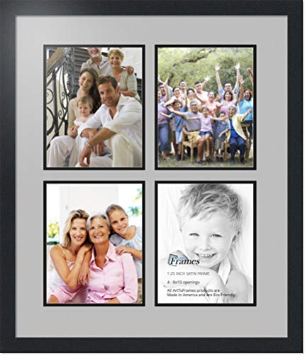 Photo Frame Double Mat with 4-8x10 Openings with Satin Black Frame and TV Grey mat. ()