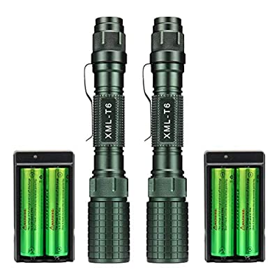 2 Pack High Lumens Led Rechargeable Flashlights 3000 LM Xml T6 Military 5 Modes Waterproof Zoomable Tactical Flashlight Torch + 18650 Battery + Charger for Camping Indoor and Outdoor Use