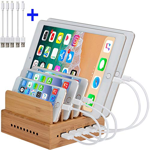 InkoTimes Bamboo Charging Station with 5-Port USB Charger - Fast USB Charging Station for Multiple Devices of Universal Cell Phones Tablets (5 Pack Cables Included)