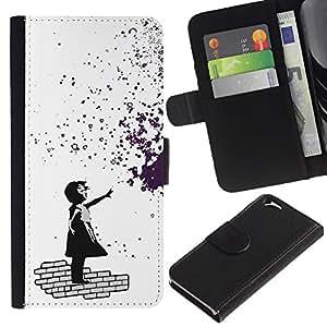 JackGot ( Banksy Chica de Graffity ) Apple (4.7 inches!!!) iPhone 6 / 6S la tarjeta de Crédito Slots PU Funda de cuero Monedero caso cubierta de piel