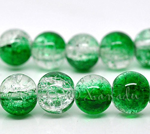 10 Mm Emerald Green - Emerald Green Wholesale 10mm Round Crackle Glass Beads G2243-20 Pcs Beads for Jewelry Making, Supply for DIY Beading Projects